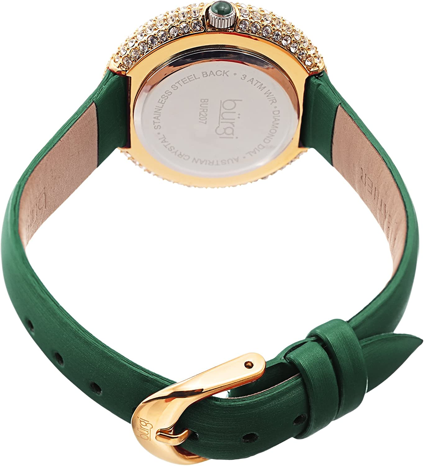 Burgi Swarovski Crystals Encrusted Quilted Dial - Swarovski Crystals Bezel with Satin Leather Strap Women's Watch - Mothers Day Gift - BUR207 Emerald Green & Gold