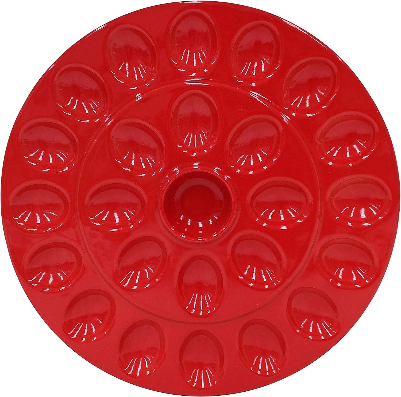 """Casafina Cook & Host Collection Stoneware Ceramic Deviled Egg Serving Platter 13.25"""", Red"""