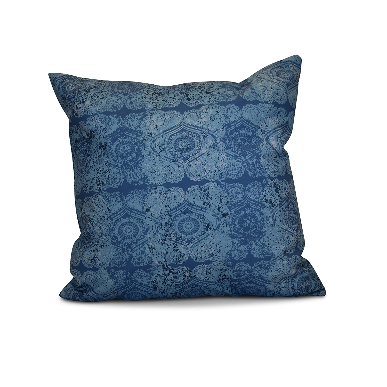 Patina Blue 18x18, E by design PGN725BL45-18 18 x 18-inch Geometric Print Pillow