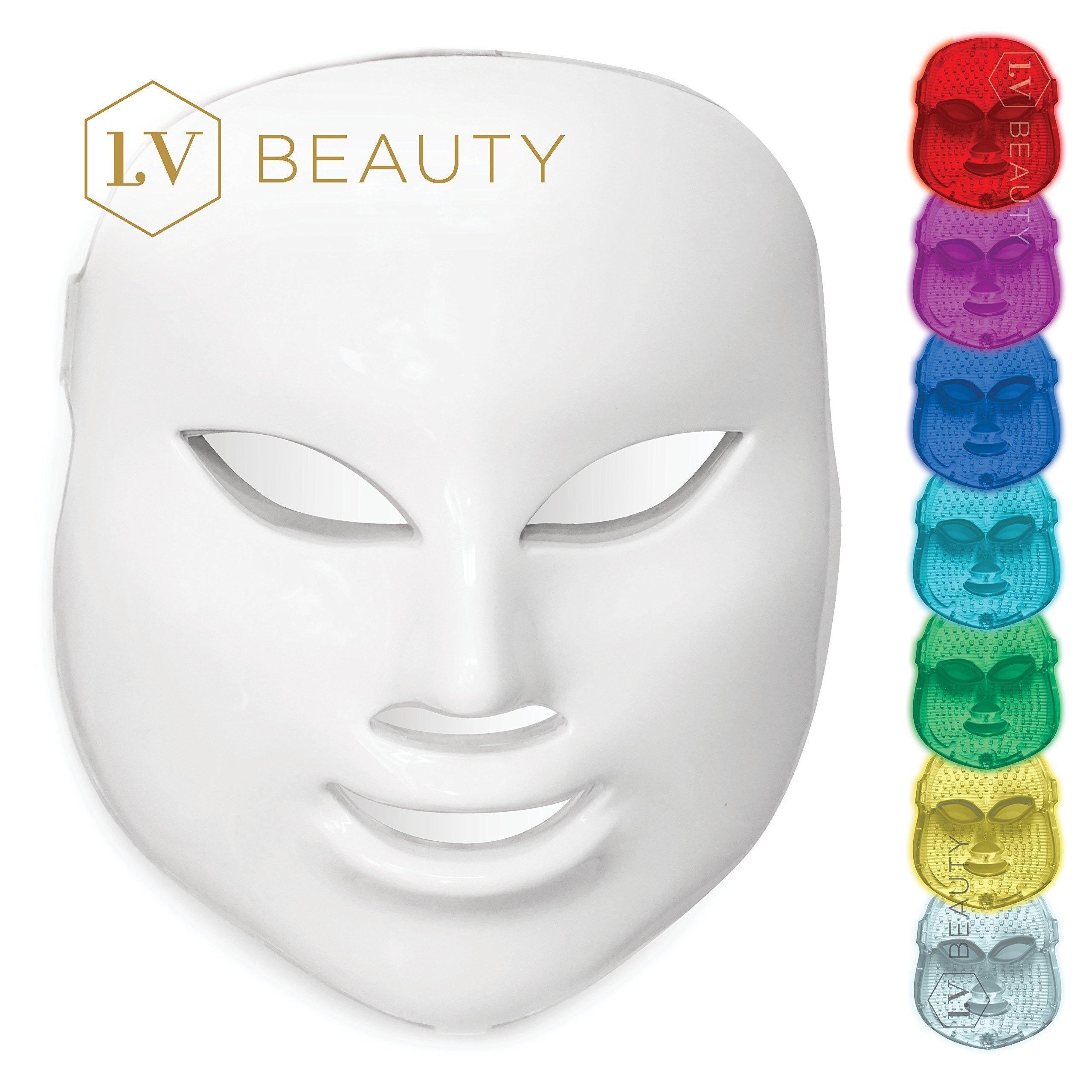 NEW LV Beauty [2018 Model] 7 Color LED Light Mask - Red Photon Light - Skin Rejuvenation - Facial Treatment - Reduce Acne - Tighten Lines - Replenish Collagen - Fight Wrinkles - Shrink Pores