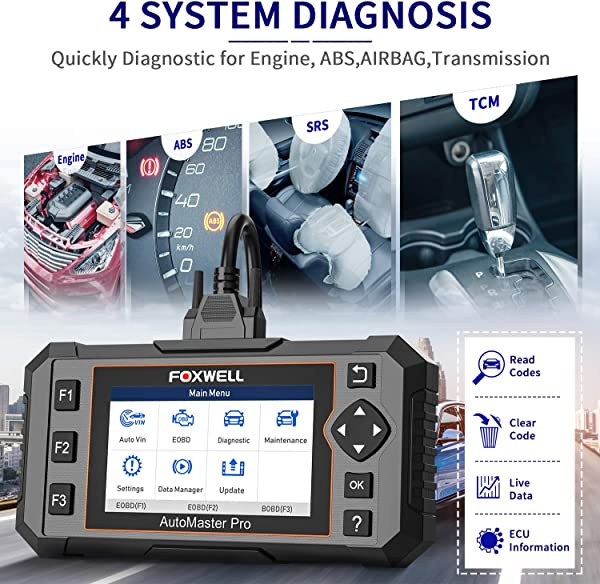 Difference from Foxwell NT604 Elite, NT614 Elite is a good fit for car owners looking for an all-in-one car diagnostic scanner without getting a separate OBDII scanner.