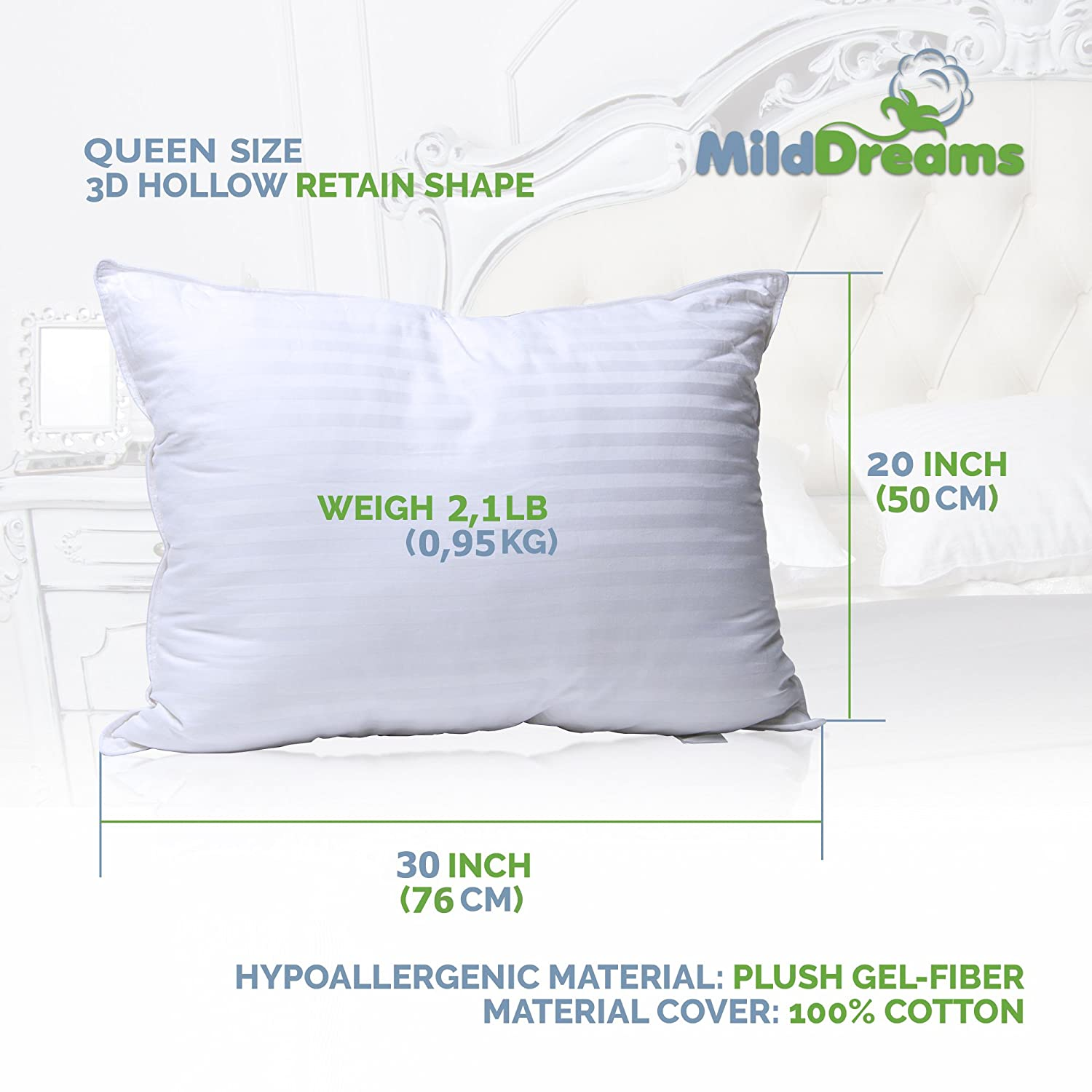 Amazoncom Milddreams Pillows For Sleeping 2 Pack Queen Size 20x30