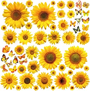 ASMPIO Sunflower Wall Stickers with 3D Butterfly, 56Pcs Removable Yellow Flower Wall Decals Waterproof Sunflower Decor Mural for Nursery Baby Kids Bedroom Living Room Bathroom Decoration