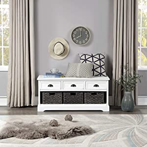 Storage Benches, Wood Wicker Storage Bench with 3 Drawers and 3 Woven Baskets, Thicken Wood Entryway & Homes Collection Shoe Bench for Hallway, Entryway, Mudroom, and Living Room (White)