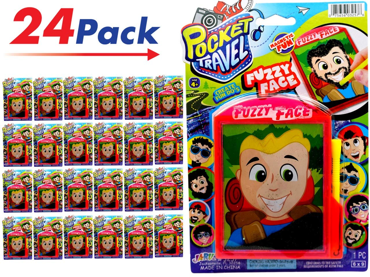 JA-RU Pocket Travel Game Fuzzy Face (Pack of 24) Magnetic Toys Draw Facial Hair to Different Faces | Item #3257-24