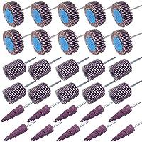 Utoolmart 400 Grit Flap Sanding Wheel Head Grinding Disc 3mm Shank Alumina Mounted Flap Wheels With a Mandrel Grinding Head Diameter 15mm/×15mm 8pcs