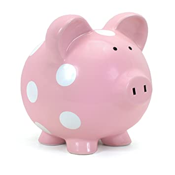 Child to cherish ceramic polka dot piggy bank for girls pink
