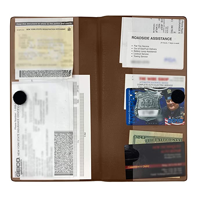 Deluxe Car Insurance and Registration Card Holder - Premium Quality  Automobile Essential Documents Wallet, Brown