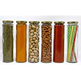 TIED RIBBONS Set of 6 Kitchen Glass Jars and Containers Sets with Air Tight Lid for Biscuits Grocery Grain Refrigerators Storage (250 ML Each)