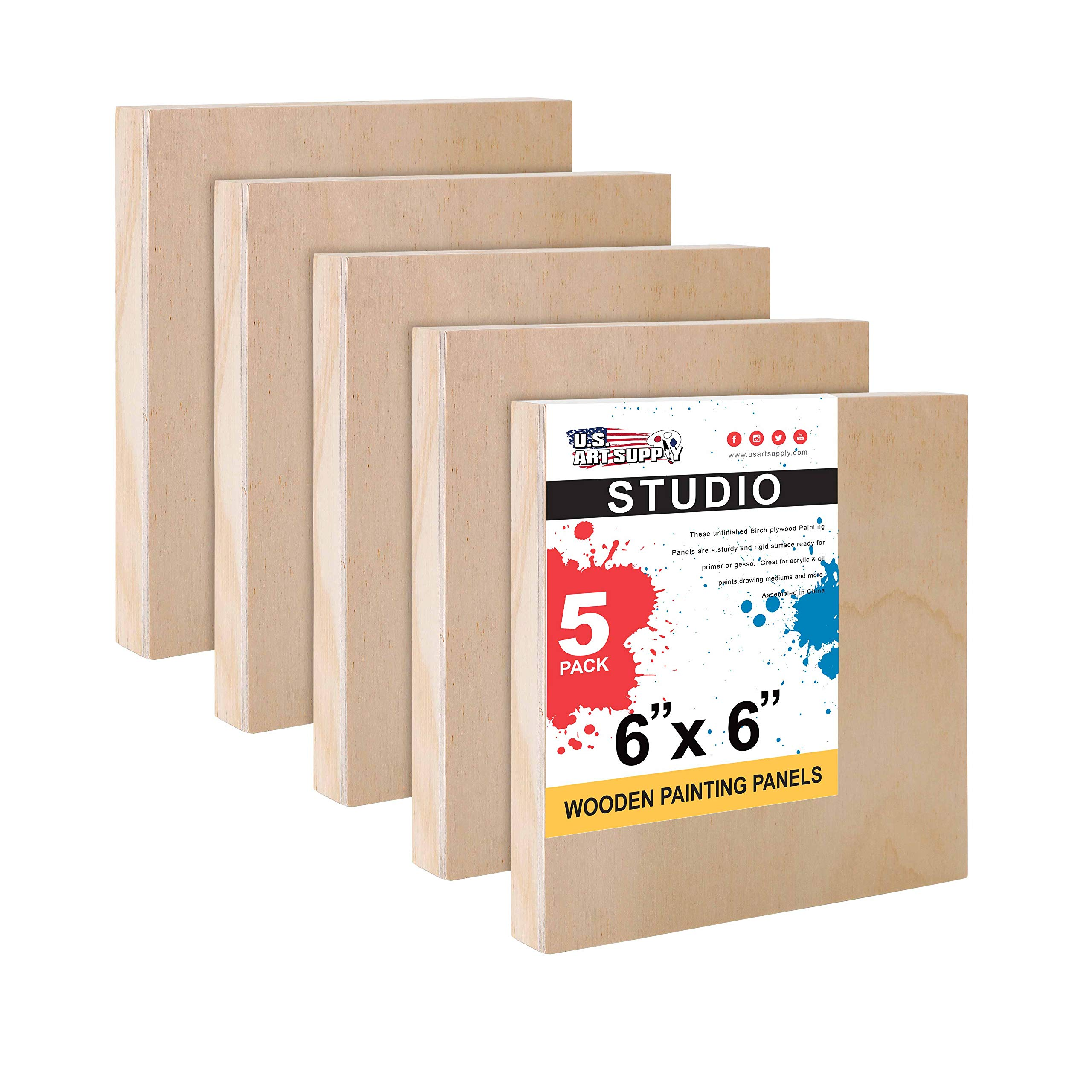 U.S. Art Supply 6'' x 6'' Birch Wood Paint Pouring Panel Boards, Studio 3/4'' Deep Cradle (Pack of 5) - Artist Wooden Wall Canvases - Painting Mixed-Media Craft, Acrylic, Oil, Watercolor, Encaustic by U.S. Art Supply