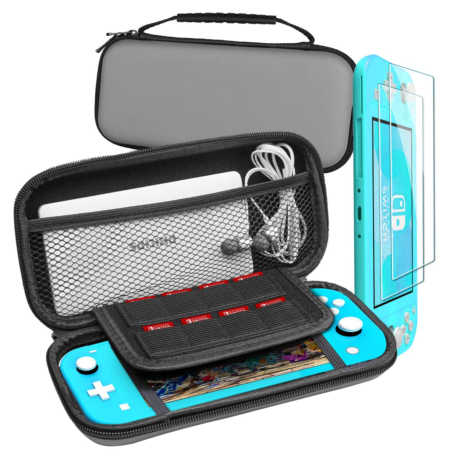 UCMDA Carrying Case for Nintendo Switch Lite, Portable Hard Shell Travel Case with 2-Pack Tempered Glass Screen Protector for Nintendo Switch Lite & Accessories (Gray)