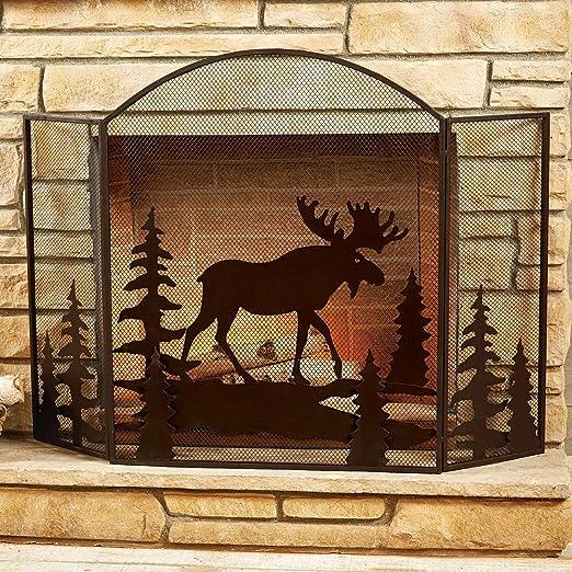 Black Bear Metal Fireplace Screen Rustic Style In Black