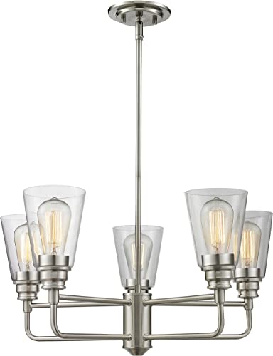 5-Light Chandelier with Clear Shade