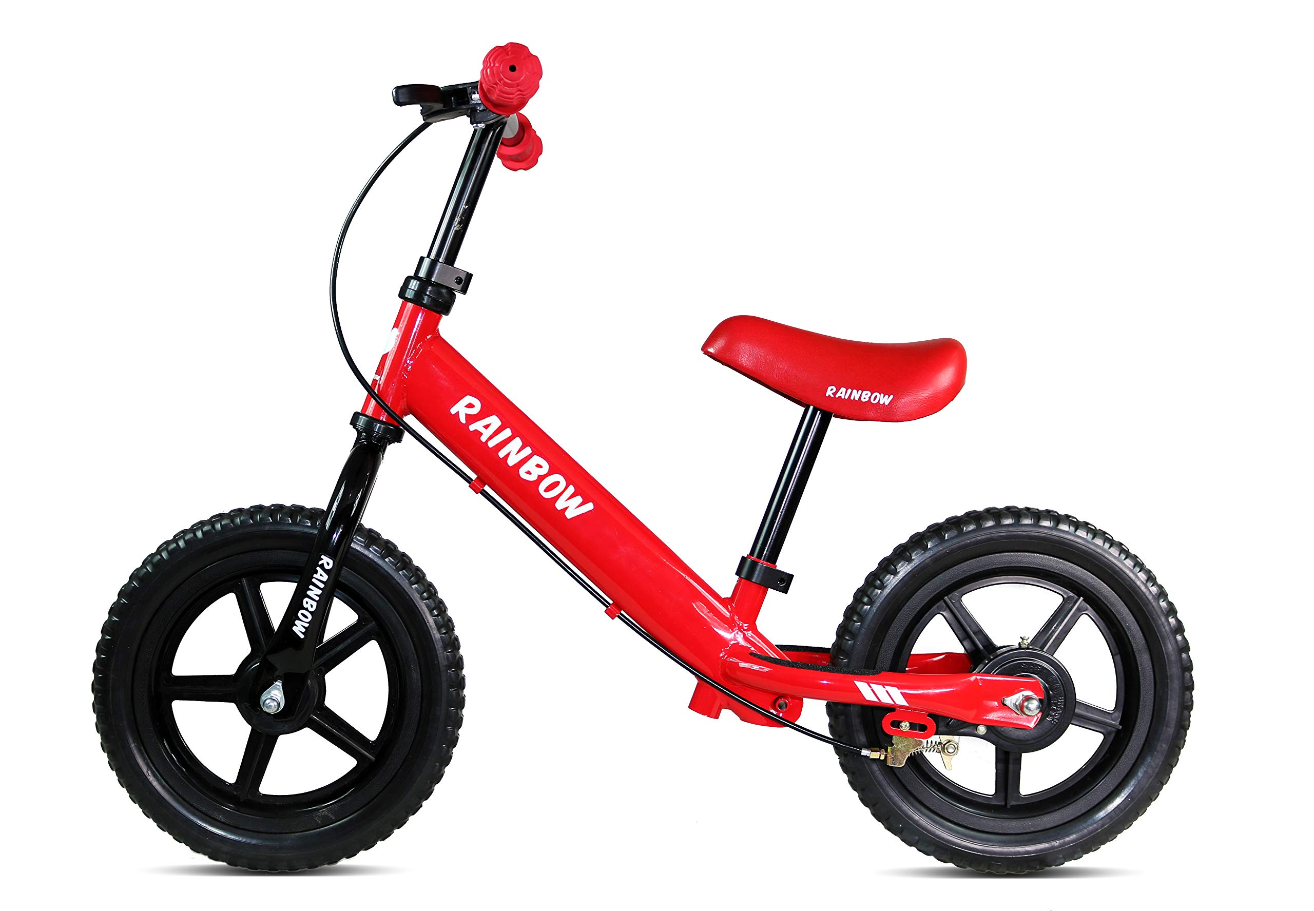 Rainbow Balance Bike for Kids (Red) 12'' Wheels No-Pedals Bike for Boys & Girls 2-5 Years Old, Children Learn How to Balance Them self on a Bike Safely with Brakes