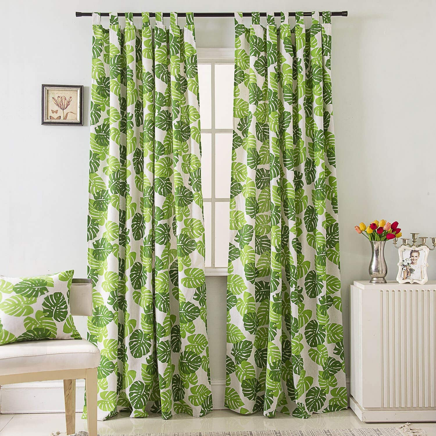 BROSHAN Tab Top Drapes and Curtain, Modern Watercolor Fresh Green Leaf Design Window Curtain, Nature Print Room Darkening Tab Top Curtain Drapes for Window Treatment, 1 Panel, 55W x 78L Inch
