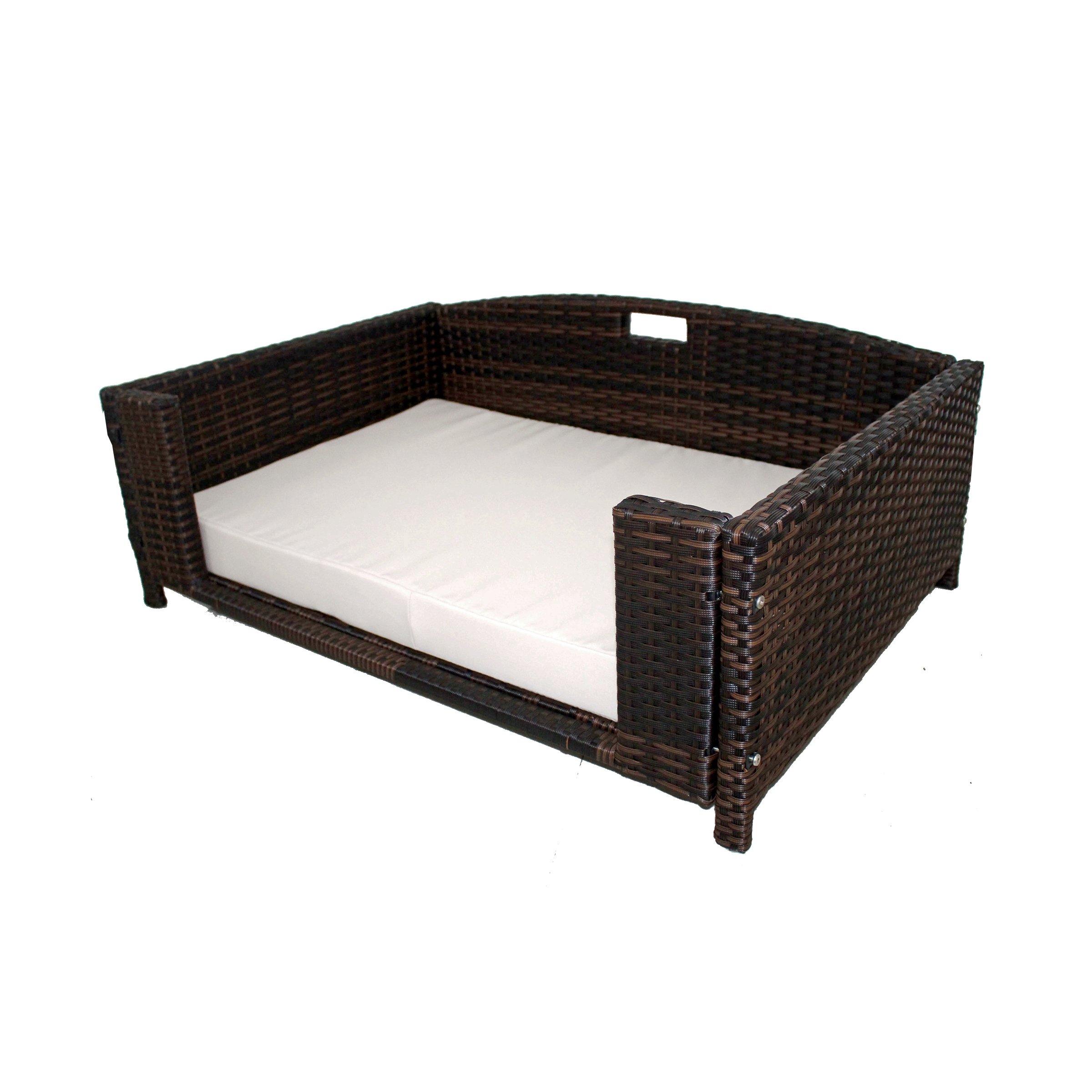 Iconic Pet 52516 Rattan Rectangular Pet Sofa, Large, Brown/Sand