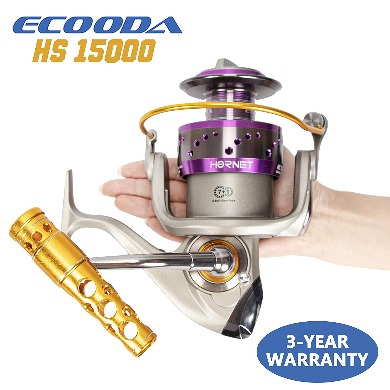 Ecooda 2019 Heavy Duty Metal Spinning Jigging Fishing Reels Saltwater Waterproof Body Boat Trolling Fishing Reel HS15000 Max Drag 66lbs