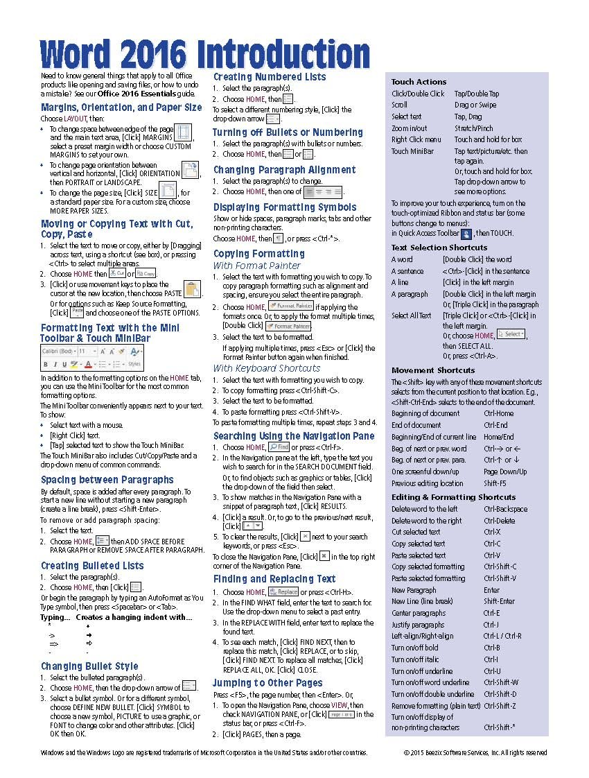 quick reference guide template word