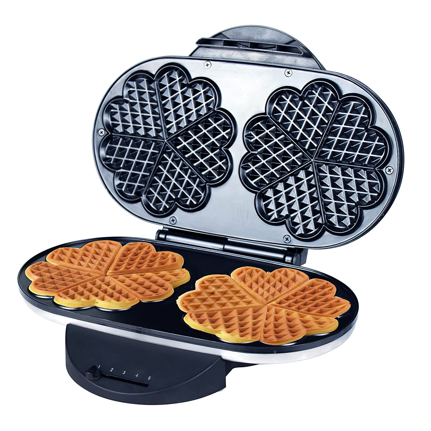 ZZ Heart Waffle Maker with Non-Stick Plate 1200W, Black/Silver