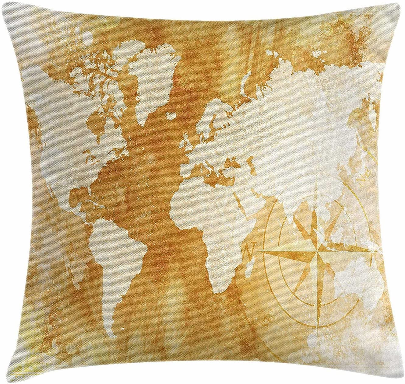 SPXUBZ Compass Old-Fashioned World Map Design In Retro Distressed Colors Continents Earth Pillow Cover Decorative Home Decor Nice Gift Indoor Pillowcase Size: 20x20 Inch(Two Sides)