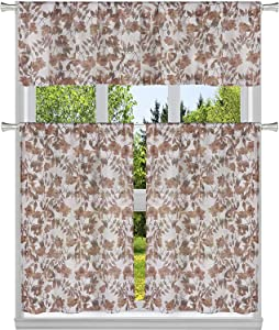 Home Maison 3 PC. Chic Floral Pattern Semi-Sheer Kitchen Curtain Tier & Valance Set for Small Window - Assorted Colors (Rose)