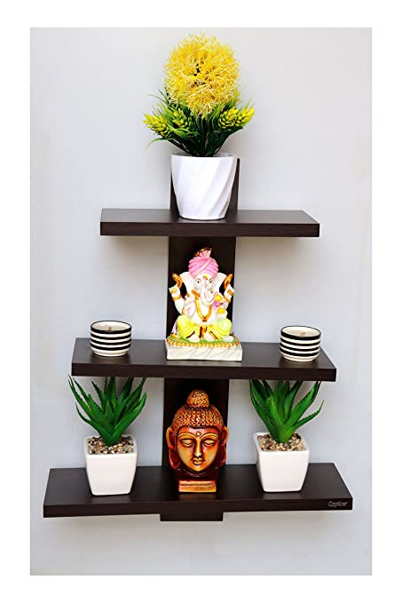 Madhuran Wooden Batten Decorative Wall Shelf For Living Room