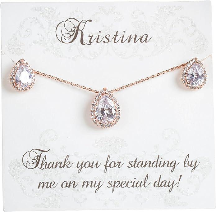 Bridesmaids Gift Silver Teardrop Bracelet Maid of Honor Gift Bridal Bracelet Gifts for Mom Wedding Bracelet Rose Gold Wedding Bracelet