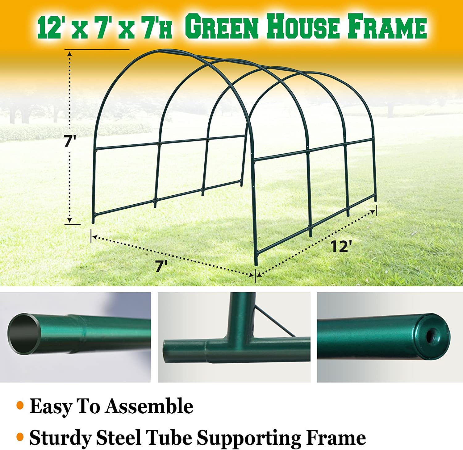 BenefitUSA Green House Replacement Spare Parts for 12 X7 X7 H Walk in Outdoor Plant Gardening Greenhouse Frame