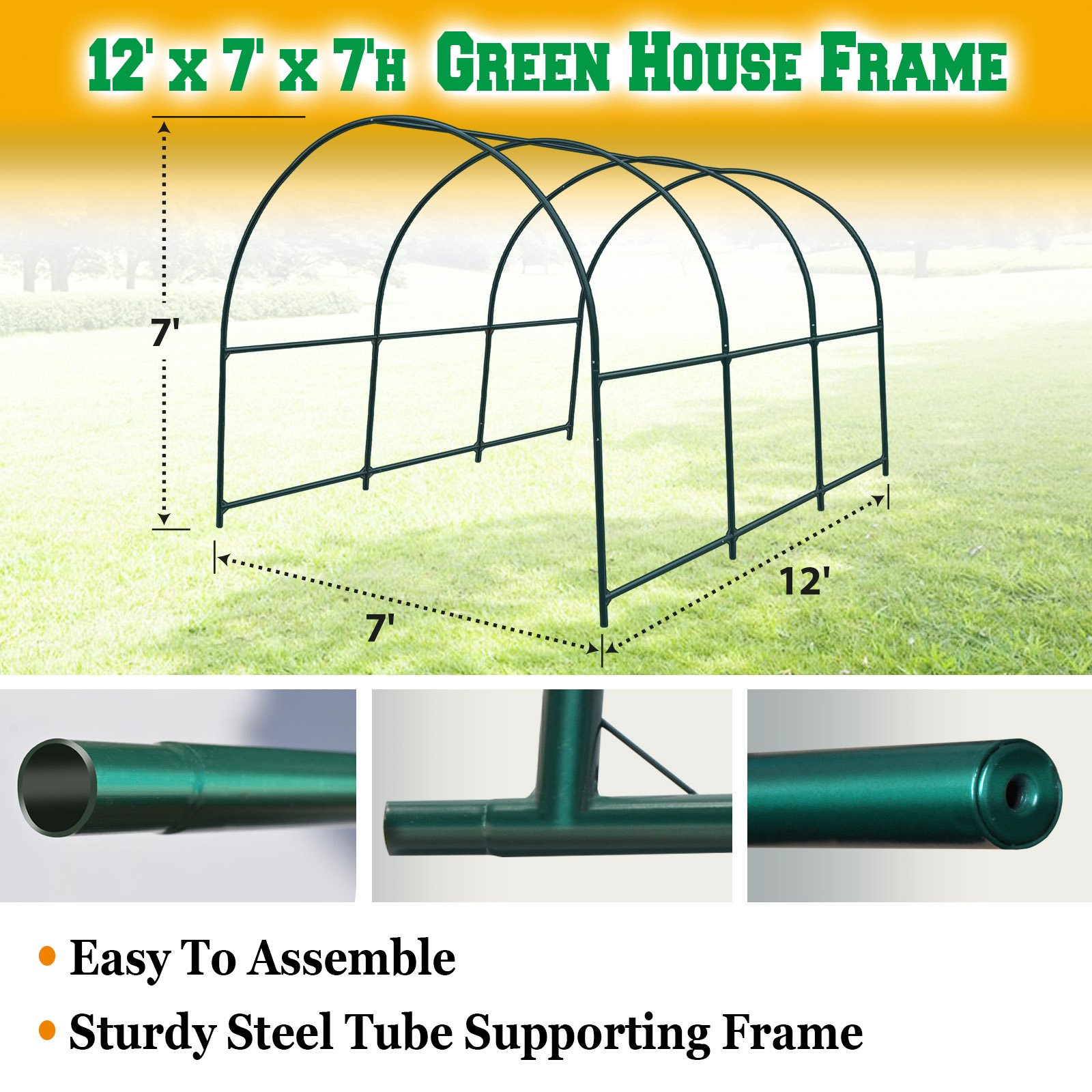 BenefitUSA Green House Replacement Spare Parts for 12'X7'X7'H Walk In Outdoor Plant Gardening Greenhouse (frame)