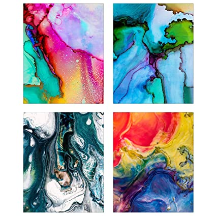 Abstract Wall Art Set Of Four 8x10 Glossy Prints Colorful Paint Splash Decoration