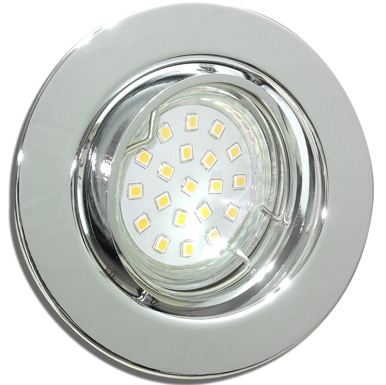 9 Stück SMD LED Einbaustrahler Milena 12 Volt 3 Watt Schwenkbar Chrom Warmweiß