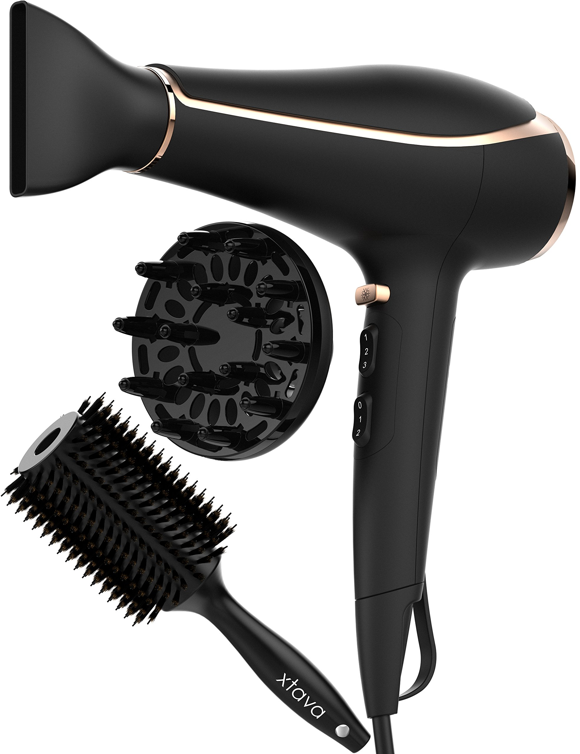 xtava Ionic Blow Dryer Voluminous Toolkit with Hair Dryer Diffuser and Round Body Hair Brush - Professional Quality Hair Dryer with Diffuser & Nozzle - Travel Hair Dryer with up to 80% Less Frizz