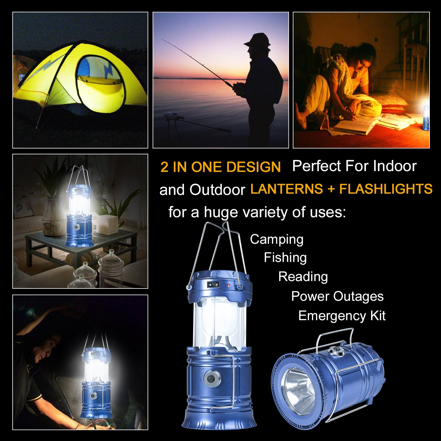 YIEASY Solar Camping Lanterns, 2 Pack Led Rechargeable Lantern Flashlight for Hurricane, Power Outages, Emergency, Collapsible and Portable (Blue) by YIEASY (Image #7)