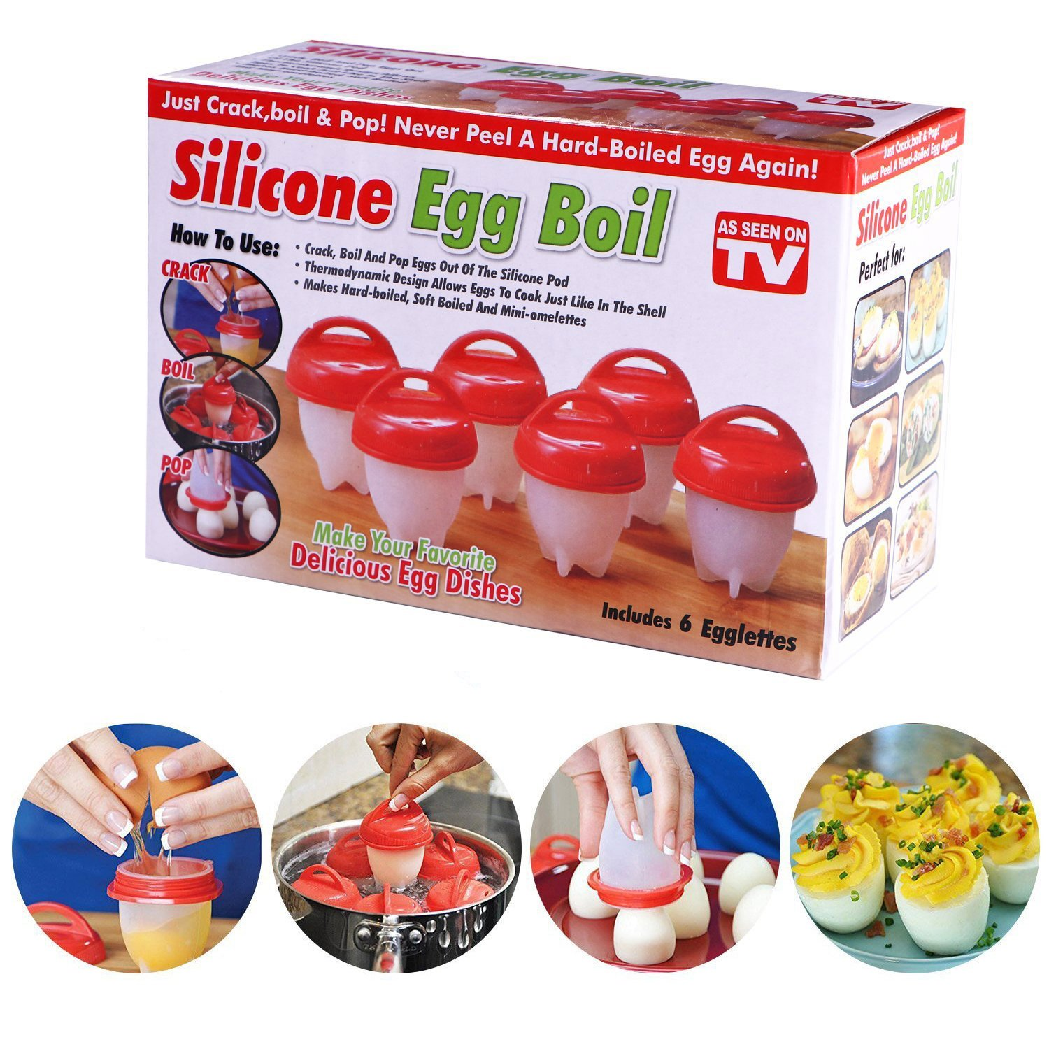 MABOLON 6 Pack Egg Cooker, Hard & Soft Maker, Non Stick Silicone Eggs Boiler Cookers without Egg Shell, BPA Free, As Seen On TV
