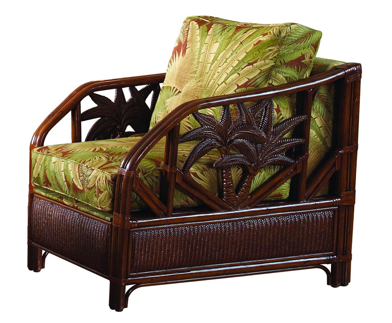 Hospitality Rattan 401-1365-TCA-C Cancun Palm Upholstered Rattan & Wicker Lounge Chair, Sunbrella Canvas Spa