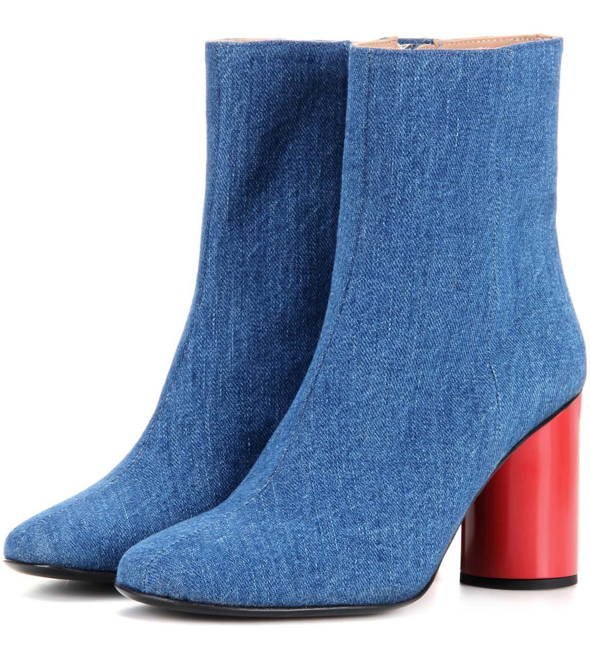 GONGFF Hellblaue Denim Ankle Stiefel Damen Rote Zylinder Rough Ankle Stiefel