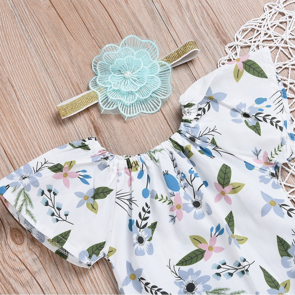 3Pcs Baby Girls Floral Short Sleeve Ruffle Romper Bodysuit+ Shorts+Flower Headband Infant Summer Outfits Clothes Set(18-24M) by Genenic (Image #3)
