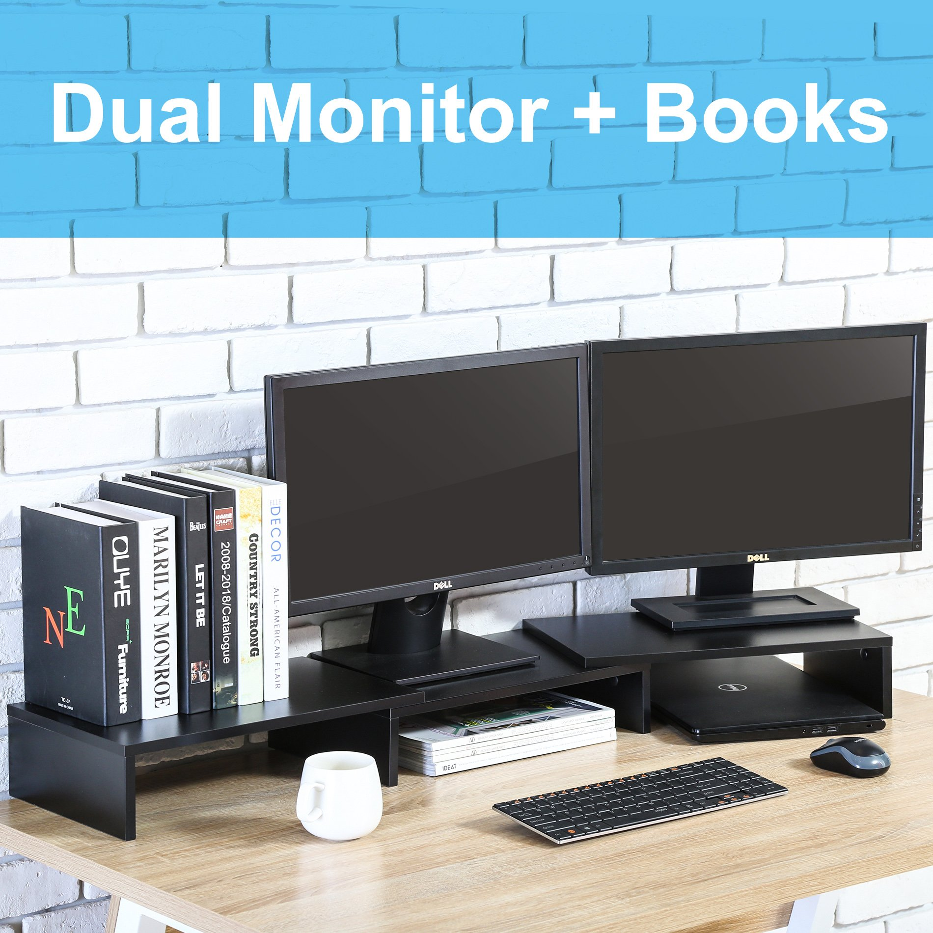 FITUEYES 3 Shelf Monitor Stand Riser with Adjustable Length and Angle,DT108001WB by FITUEYES (Image #5)