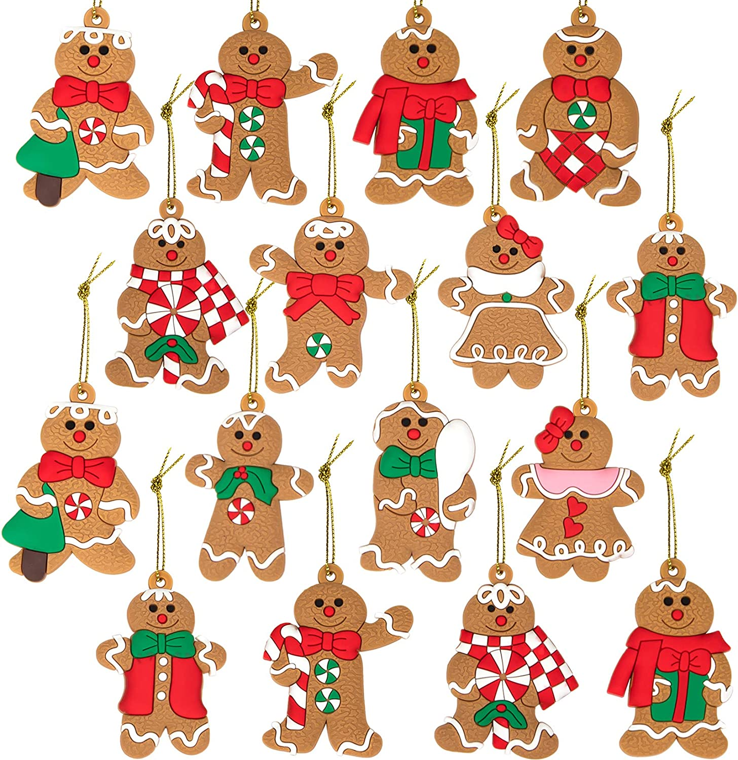 WUWEOT 16 Pack Gingerbread Man Figurine Ornaments, Doll Gingerman Hanging Charms Christmas Tree Decoration for Party, Home, Kitchen and Holiday, PVC Soft Rubber, 2.1 x 1.5 inches