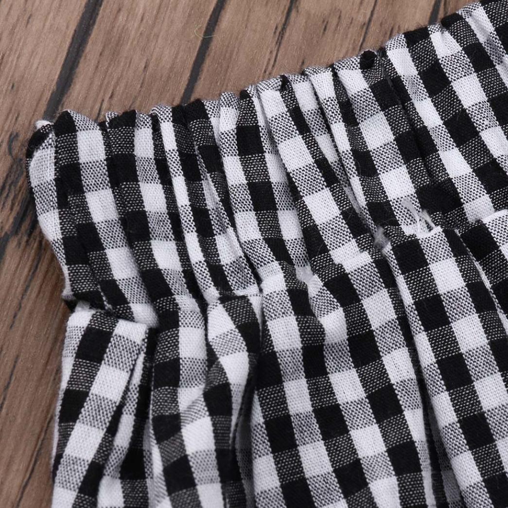 Split Half Skirt Two Piece Outfit Set kaiCran Fashion 2Pcs Toddler Kids Baby Girls Sleeveless Tube Top Plaid Top