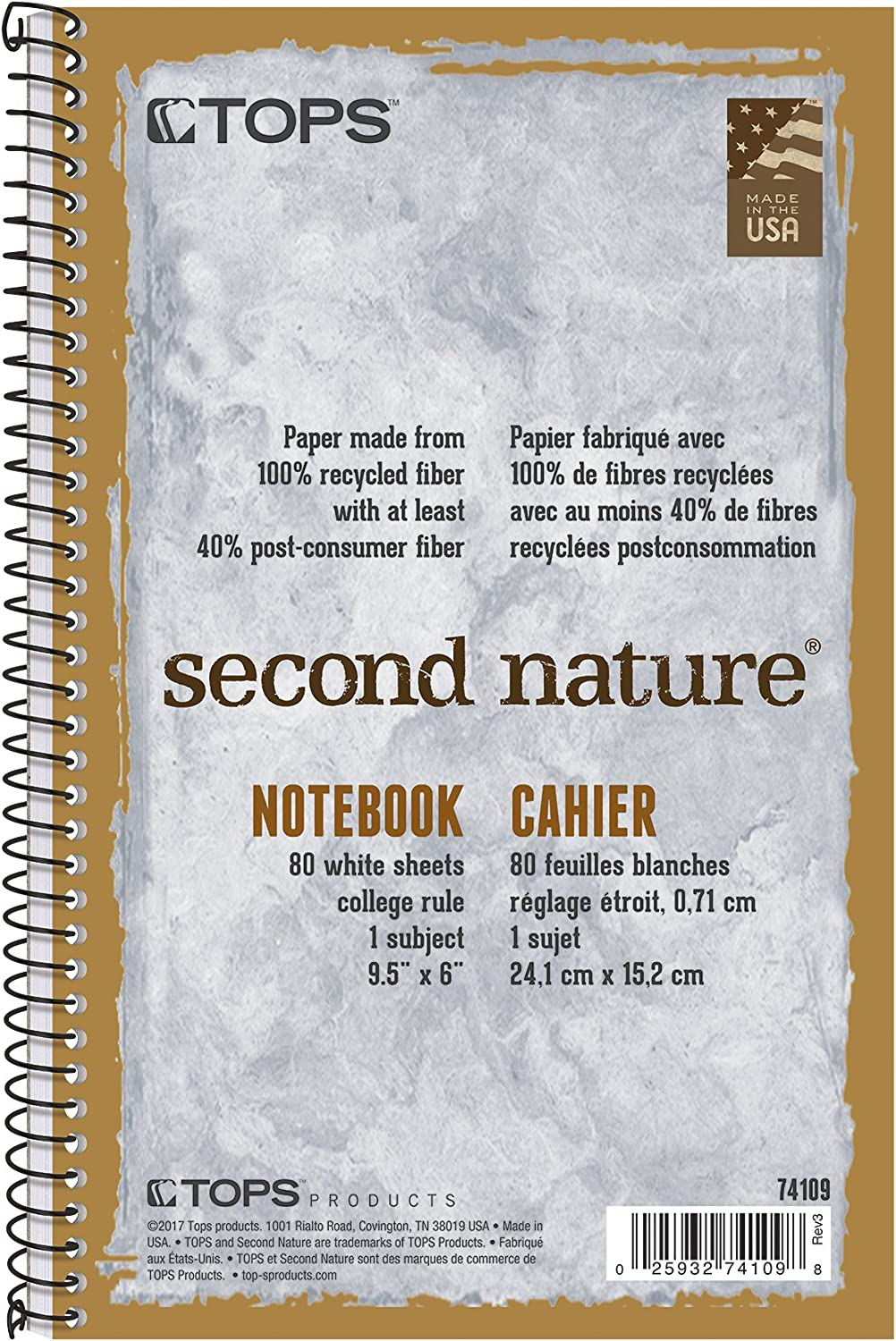 TOPS Second Nature Notebook, 9.5 x 6 Inch, College Ruled, 100% Recycled, 80 Sheets, Grey (74109)
