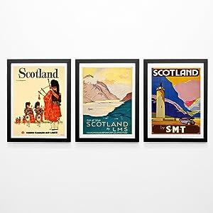 Scotland Poster Set of 3 Scottish Posters Scotch Wall Art Scottish Prints Scotland Posters Scottish Art Scottish Decor Scotland Art Prints (8 x 10)