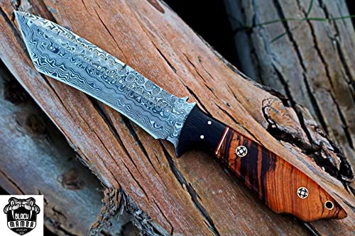 BLACK MAMBA KNIVES BMK-118 Aokigahara Damascus Tanto Knife 12.5 Inches Long 7 Inches Blade 10 Ounce Damascus Hunting Fixed Blade Knife Tanto Knife Damascus Hand Made Word Class Knives