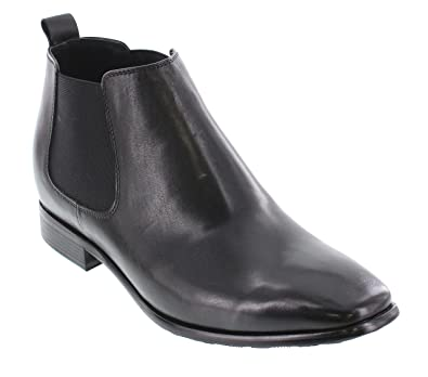 b8bc01a90a24 CALTO Men s Invisible Height Increasing Elevator Shoes - Black Premium  Leather Slip-on Chelsea Boots