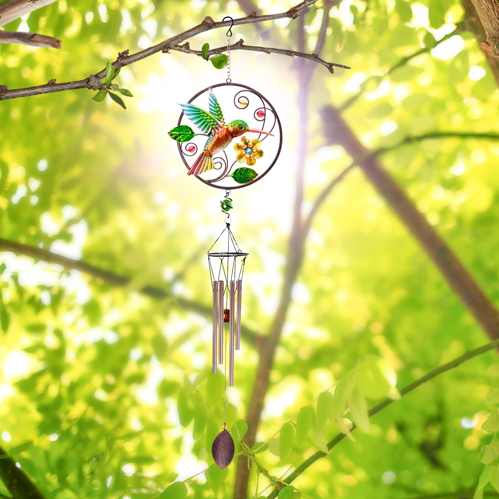 CREATIVE DESIGN Wind Chimes, 32\'\'H Hummingbird Wind Chimes, Portable Metal Garden Wind Chimes for Home Garden Decoration