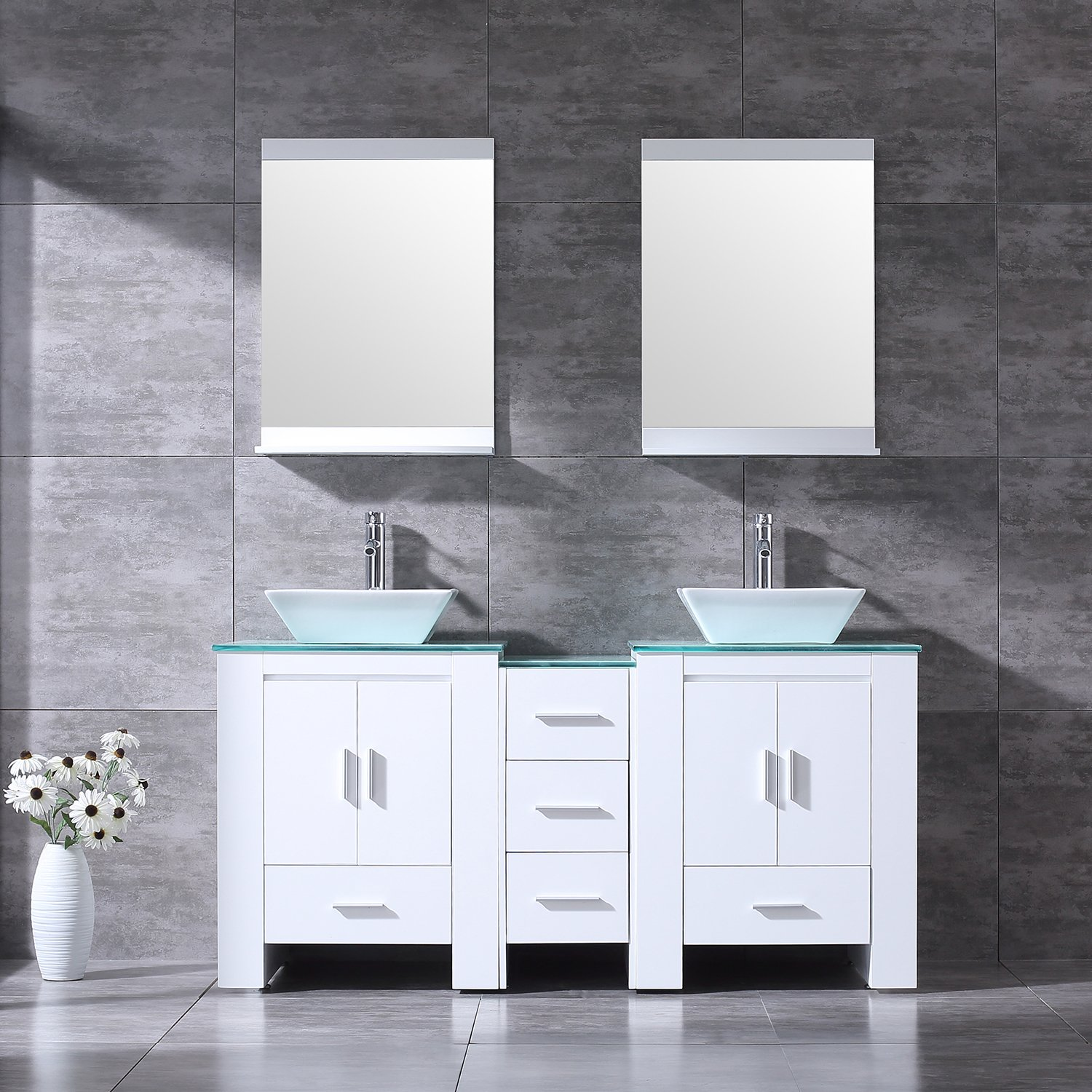 """BATHJOY 60"""" White Bathroom Double Wood Vanity Cabinet with Ceramic Vessel Sink and Mirrors Faucet Drain Combo"""
