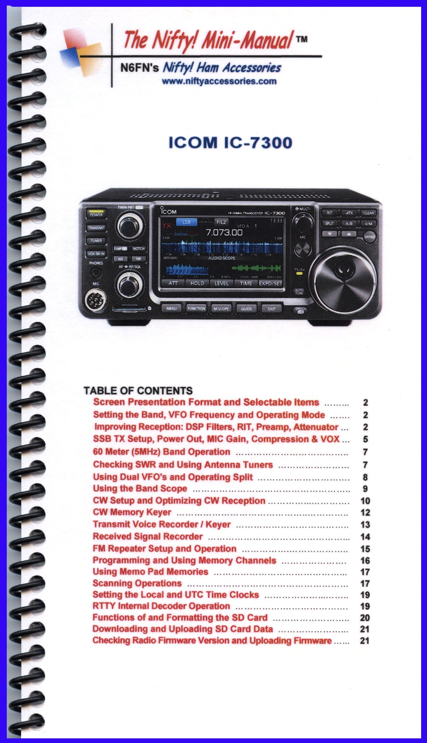 Icom IC-7300 Mini-Manual by Nifty Accessories: Nifty Accessories:  Amazon.com: Books