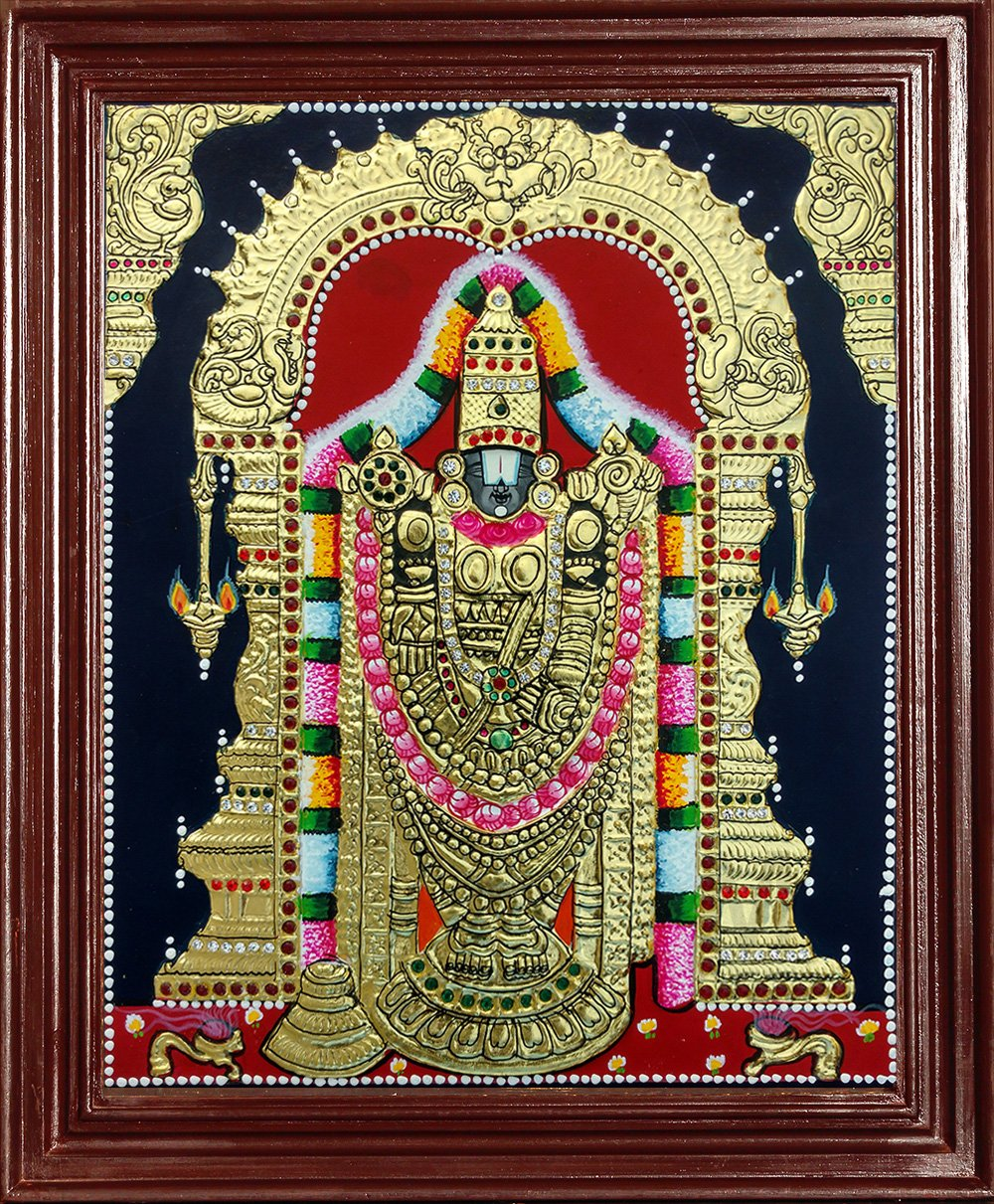 Tirupathi Balaji Tanjore Painting - 22 Carat Gold Foil