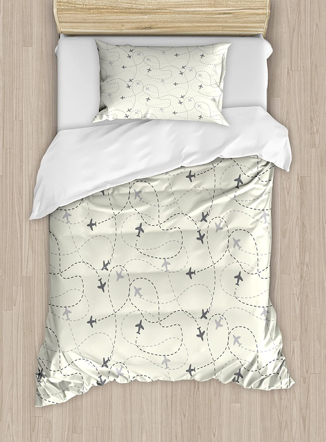 Ambesonne Travel Duvet Cover Set, Airline Route Map Destination Theme Textured Travel Journey Trip Dotted Lines Print, Decorative 3 Piece Bedding Set with 2 Pillow Shams, Twin Size, Beige