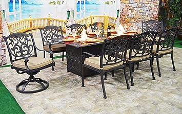 Fire Pit Dining Table Set Cast Aluminum 9 Piece Propane Patio Furniture  Outdoor Sunbrella Cushions Desert